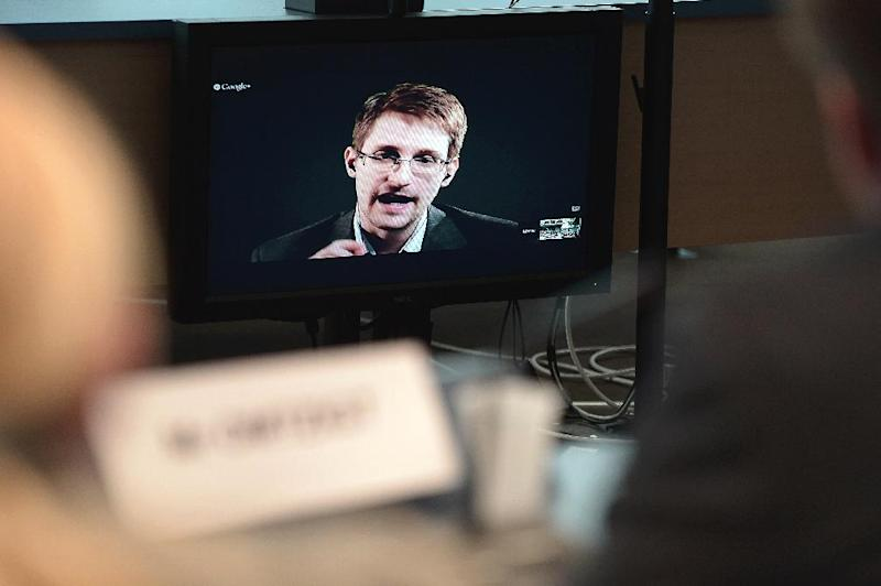 Ex-US National Security Agency (NSA) contractor Edward Snowden speaks to European officials in Strasbourg, via video conference, on June 24, 2014 (AFP Photo/Frederick Florin)