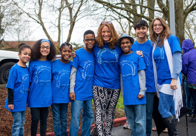 FILE - This March 20, 2016, file photo shows Hart family of Woodland, Wash., at a Bernie Sanders rally in Vancouver, Wash. A body was recovered Saturday, April 7, 2018, in the vicinity where an SUV plunged off a Northern California cliff last month, killing the family of eight in what authorities suspect may have been an intentional crash. (Tristan Fortsch/KATU News via AP, File)