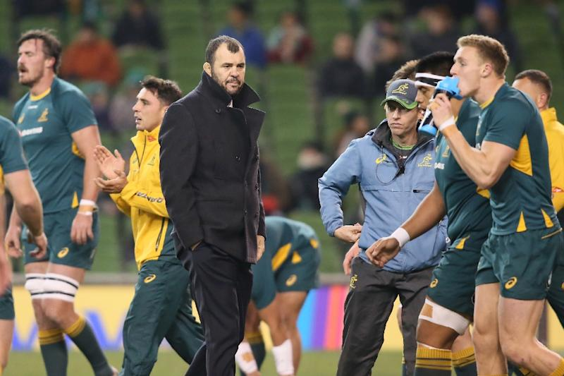 Australia's coach Michael Cheika says the team is hurting after losing to Ireland but will dust themselves off for next week's match against England (AFP Photo/Paul Faith)