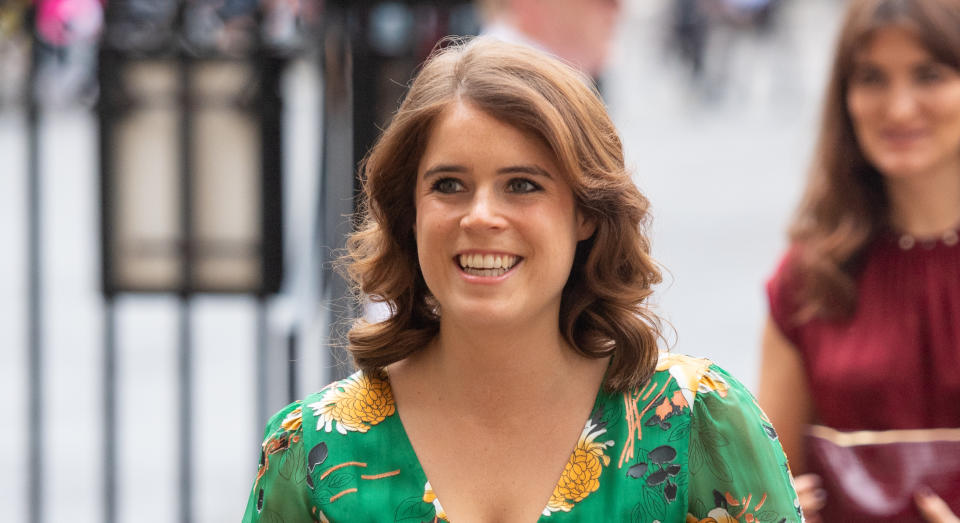 Princess Eugenie (pictured in 2019) usually wears her hair curly. (Getty Images)
