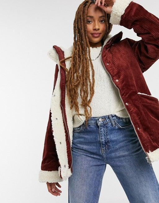 """<br><br><strong>Monki</strong> Cord Faux Shearling Lined Jacket, $, available at <a href=""""https://www.asos.com/monki/monki-shea-cord-faux-shearling-lined-jacket-in-brown/prd/21661888?irgwc=1&clickid=_ozhtaycoh0kfq3vixka03fe3c22xs1ed3tlid9jq00&affid=25379&pubref=97233"""" rel=""""nofollow noopener"""" target=""""_blank"""" data-ylk=""""slk:ASOS"""" class=""""link rapid-noclick-resp"""">ASOS</a>"""