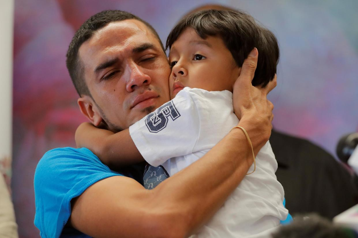 "<span class=""s1"">Javier, a 30-year-old from Honduras, holds his son William, 4, after they were reunited in New York. They had been separated for 55 days following their detention at the Texas border, July 11. (Photo: Lucas Jackson/Reuters)</span>"
