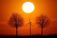 FILE PHOTO: Power-generating windmill turbines are seen during sunset in Bourlon