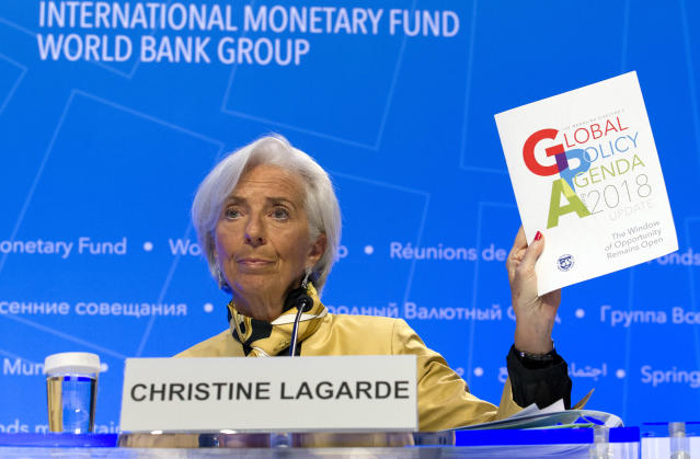 International Monetary Fund (IMF) Managing Director Christine Lagarde speaks during a news conference at the World Bank/IMF Spring Meetings in Washington, Thursday, April 19, 2018. (AP Photo/Jose Luis Magana)