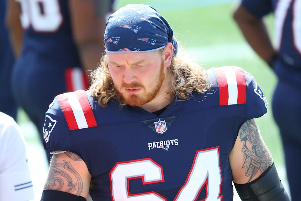 Hjalte Froholdt might have to come to the rescue for the New England Patriots. (Photo by Maddie Meyer/Getty Images)