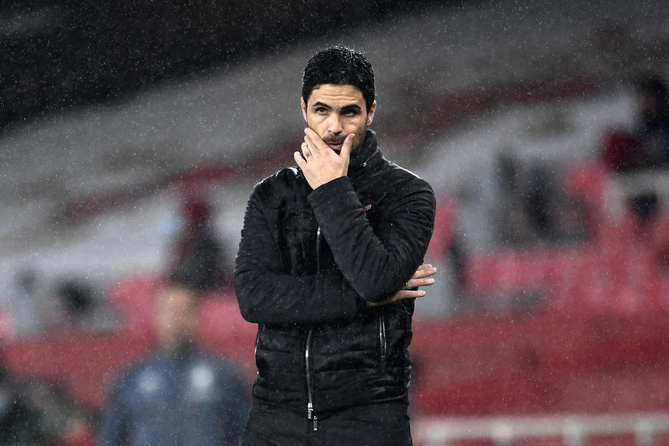 Mikel Arteta is overseeing the latest period of Arsenal's free fall the last few years. (Andy Rain/Pool via AP)