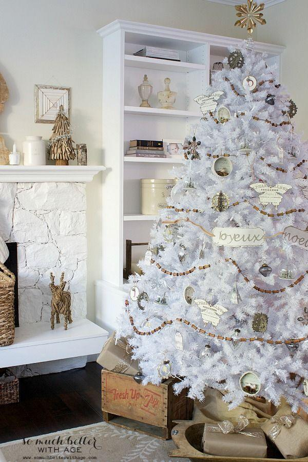 """<p>Dreaming of a white Christmas? Even if you don't get any snow, this vintage white tree will get you in the spirit. </p><p><strong><em>Get the tutorial at <a href=""""https://somuchbetterwithage.com/neutral-christmas-decorating/"""" rel=""""nofollow noopener"""" target=""""_blank"""" data-ylk=""""slk:So Much Better With Age"""" class=""""link rapid-noclick-resp"""">So Much Better With Age</a>. </em></strong></p><p><a class=""""link rapid-noclick-resp"""" href=""""https://www.amazon.com/Anntool-Garland-Holiday-Farmhouse-Ornament/dp/B08Y1JBHRT?tag=syn-yahoo-20&ascsubtag=%5Bartid%7C10070.g.2025%5Bsrc%7Cyahoo-us"""" rel=""""nofollow noopener"""" target=""""_blank"""" data-ylk=""""slk:WOOD BEAD GARLAND"""">WOOD BEAD GARLAND</a></p>"""