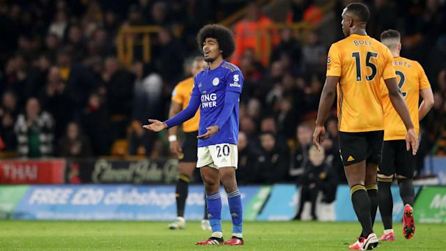 Wolves had a goal disallowed by VAR in a 0-0 draw with Leicester City, who finished with 10 men following Hamza Choudhury's red card.