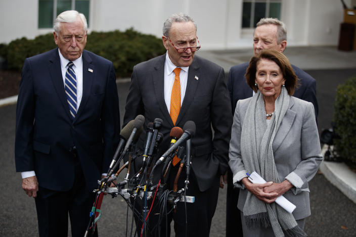 Democratic leaders talk with reporters after the meeting with President Trump. (Photo: Evan Vucci/AP)