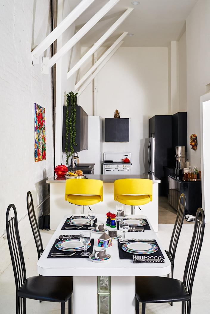 "<cite class=""credit""><a href=""https://www.architecturaldigest.com/story/this-couple-turned-a-former-80s-dance-club-into-a-playful-loft?mbid=synd_yahoo_rss"" rel=""nofollow noopener"" target=""_blank"" data-ylk=""slk:This Couple Turned a Former '80s Dance Club Into a Playful Loft"" class=""link rapid-noclick-resp"">This Couple Turned a Former '80s Dance Club Into a Playful Loft</a>. Photo by Seth Caplan.</cite>"