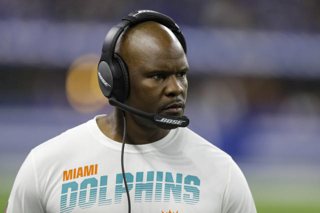 Miami Dolphins head coach Brian Flores paces the sideline during the first half of an NFL football game against the Indianapolis Colts in Indianapolis, Sunday, Nov. 10, 2019. (AP Photo/Darron Cummings)