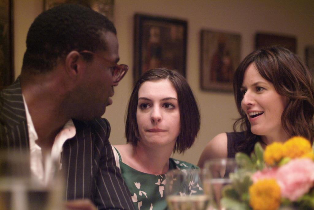 """<a href=""""http://movies.yahoo.com/movie/contributor/1804466291"""">Tunde Adebimpe</a>, <a href=""""http://movies.yahoo.com/movie/contributor/1804705919"""">Anne Hathaway</a> and <a href=""""http://movies.yahoo.com/movie/contributor/1809160790"""">Rosemarie DeWitt</a> in Sony Pictures Classics' <a href=""""http://movies.yahoo.com/movie/1809961213/info"""">Rachel Getting Married</a> - 2008"""