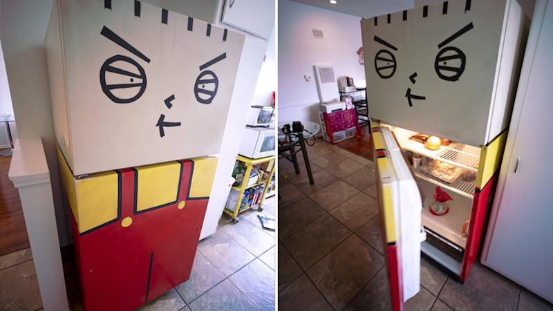 Twitter went crazy for the photos posted by writer and director Drew Kaufman, of a fridge painted to look like Stewie Griffin from the cartoon series Family Guy.
