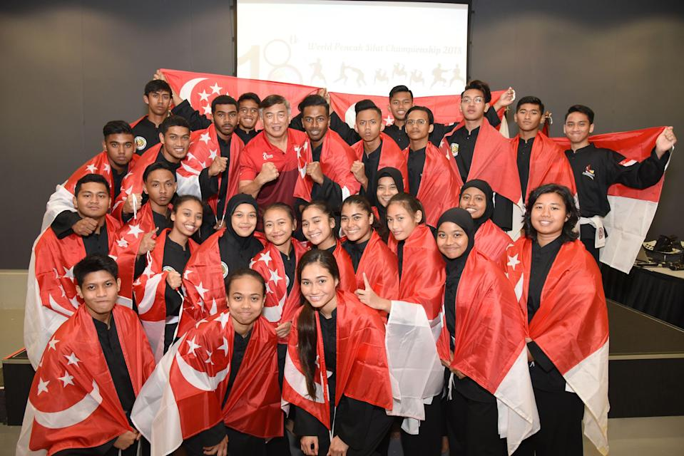 The Singapore contingent for the 2018 World Pencak Silat Championships in Singapore. (PHOTO: Singapore Silat Federation)