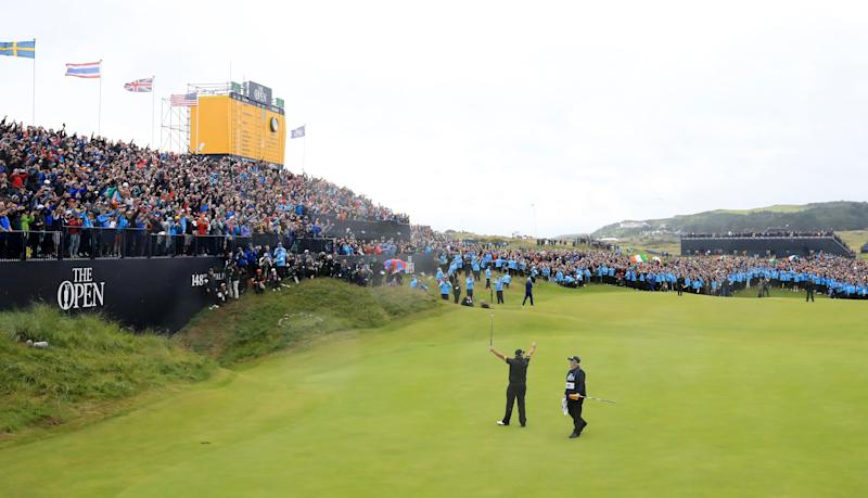 Shane Lowry celebrates on the 18th green during the final round of the 148th Open Championship.