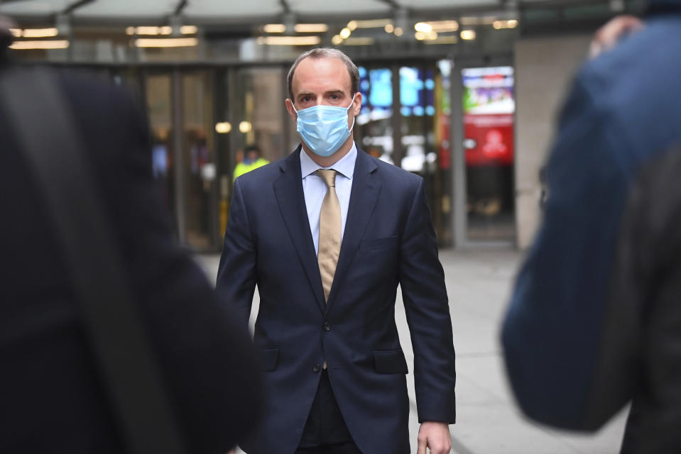 British Foreign Secretary Dominic Raab faces to the media outside BBC Broadcasting House in central London Sunday Nov. 29, 2020. Raab was interviewed on a current affairs programme Sunday morning. (Victoria Jones/PA via AP)
