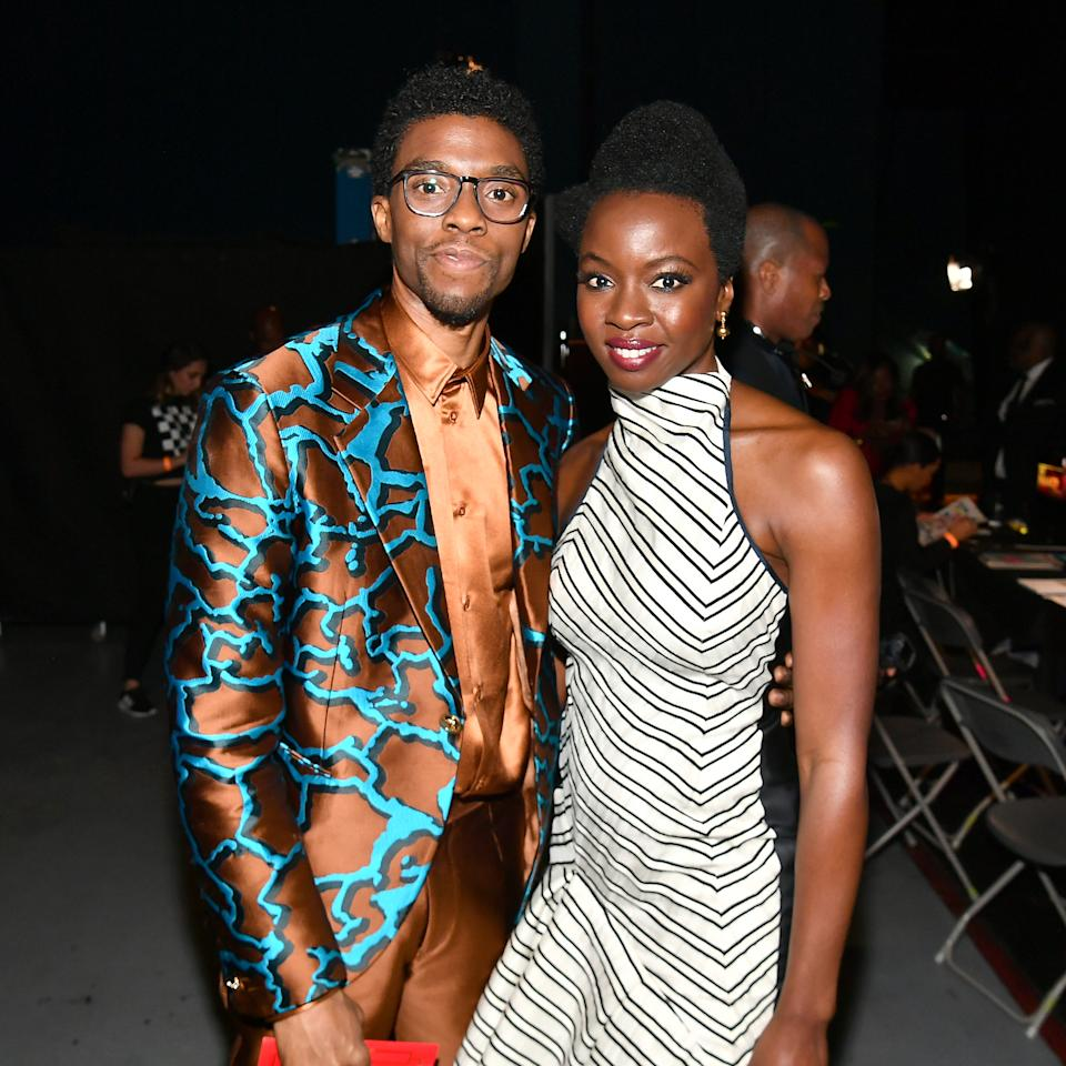 HOLLYWOOD, CALIFORNIA - MARCH 30: (L-R) Chadwick Boseman and Danai Gurira attend the 50th NAACP Image Awards at Dolby Theatre on March 30, 2019 in Hollywood, California. (Photo by Paras Griffin/Getty Images for NAACP)