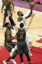 Los Angeles Lakers forward LeBron James drives to the basket against the Chicago Bulls during the second half of an NBA basketball game in Chicago, Saturday, Jan. 23, 2021. (AP Photo/Nam Y. Huh)