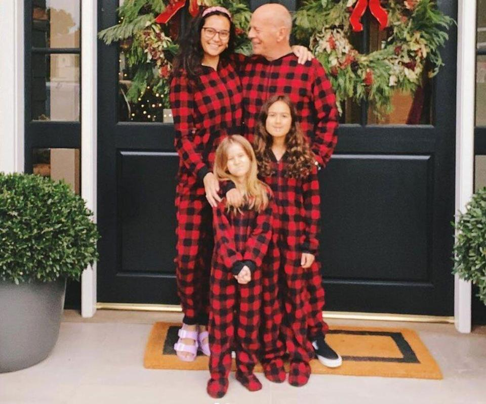 Bruce Willis Wears 'Matching Family' Pajamas with Wife Emma and Daughters in Sweet Christmas Photo