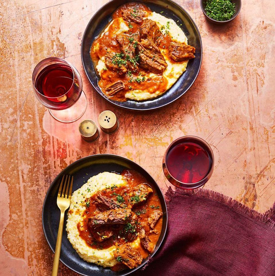 "<p>This recipe for tender beef and creamy grits is the most crowd-pleasing version of steak and potatoes.<a href=""https://www.goodhousekeeping.com/food-recipes/a30284936/short-ribs-with-creamy-polenta-recipe/"" rel=""nofollow noopener"" target=""_blank"" data-ylk=""slk:"" class=""link rapid-noclick-resp""><br></a></p><p><em><a href=""https://www.goodhousekeeping.com/food-recipes/a30284936/short-ribs-with-creamy-polenta-recipe/"" rel=""nofollow noopener"" target=""_blank"" data-ylk=""slk:Get the recipe for Short Ribs with Creamy Polenta »"" class=""link rapid-noclick-resp"">Get the recipe for Short Ribs with Creamy Polenta » </a></em></p><p><strong>RELATED:</strong> <a href=""https://www.goodhousekeeping.com/food-recipes/g2346/steak-recipes/"" rel=""nofollow noopener"" target=""_blank"" data-ylk=""slk:45 Simple Steak Recipes That Are Easier to Make Than Reservations"" class=""link rapid-noclick-resp"">45 Simple Steak Recipes That Are Easier to Make Than Reservations</a><br></p>"