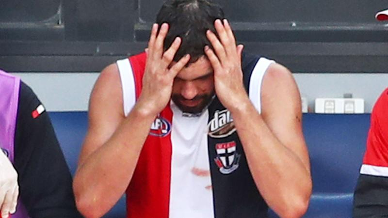 Paddy McCartin, pictured here struggling with concussion during a 2019 JLT Community Series game.