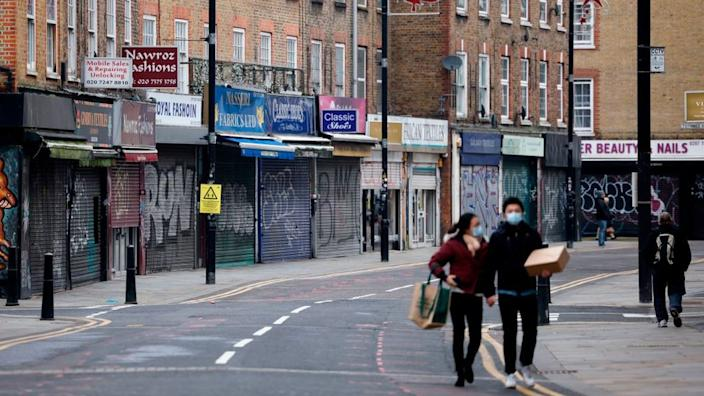 A row of closed shops in London due to lockdown