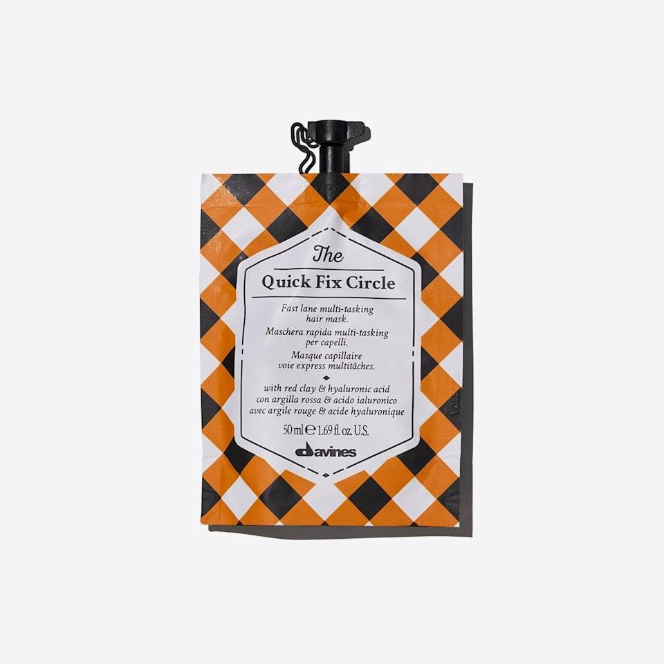 """<p>The <span>Davines Quick Fix Circle Mask</span> ($10) is one of Pallett's favorites. """"The masks you'll always find in my kit are the The Circle Chronicles from Davines, which is a range of seven different masks that come in small, travel-sized pouches (perfect for traveling),"""" he said. """"I love them all, but if I have to pick one favorite it would be the Quick Fix Circle, because it not only provides hair with a surge of hydrating ingredients that make it instantly softer and smoother, but also because for me, time is always the one thing I don't have.""""</p>"""