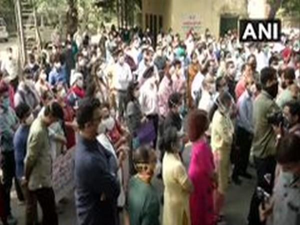 Doctors and health workers at Hindu Rao Hospital continued their strike on Tuesday. (Photo/ANI)