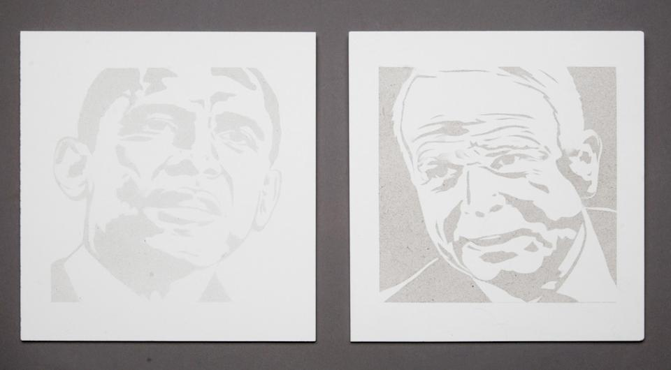 """Smog portraits titled """"Obama in 9 Days of Smog"""" and """"McCain in 18 Days of Smog"""" were based on each's emission goals."""