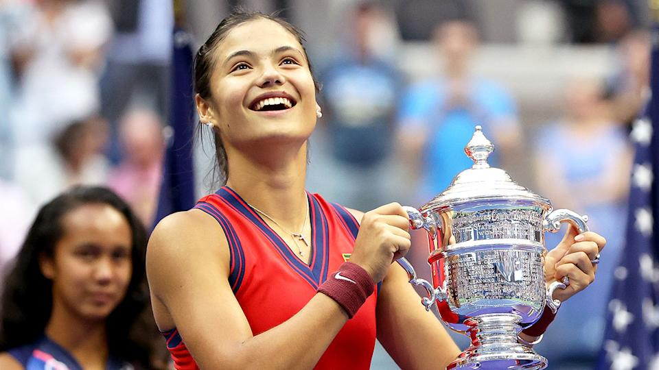 Pictured here, Emma Raducanu with the US Open trophy.