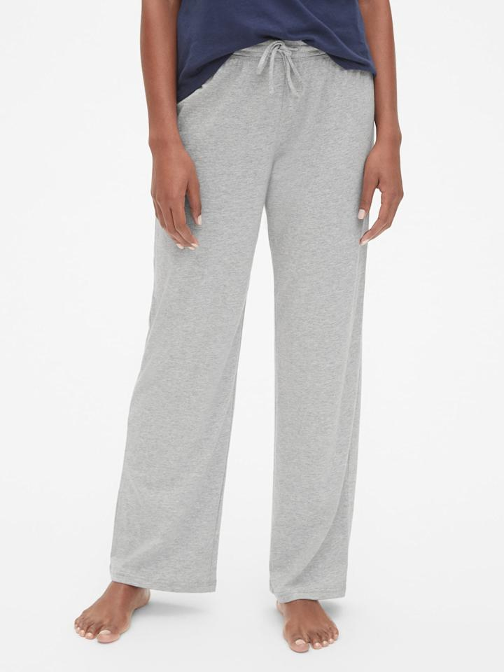 """<p>These <a href=""""https://www.popsugar.com/buy/Gap-Wide-Leg-Lounge-Pants-476738?p_name=Gap%20Wide%20Leg%20Lounge%20Pants&retailer=gap.com&pid=476738&price=18&evar1=fab%3Aus&evar9=46467773&evar98=https%3A%2F%2Fwww.popsugar.com%2Fphoto-gallery%2F46467773%2Fimage%2F46468012%2FGap-Wide-Leg-Lounge-Pants&list1=shopping%2Cgap%2Cunderwear%2Cloungewear&prop13=api&pdata=1"""" rel=""""nofollow"""" data-shoppable-link=""""1"""" target=""""_blank"""" class=""""ga-track"""" data-ga-category=""""Related"""" data-ga-label=""""https://www.gap.com/browse/product.do?pid=419639002&amp;cid=29504&amp;pcid=29504&amp;grid=pds_105_222_1&amp;cpos=108&amp;cexp=1161&amp;cid=CategoryIDs%3D29504&amp;ctype=Listing&amp;cpid=res19080710277035078162809#pdp-page-content"""" data-ga-action=""""In-Line Links"""">Gap Wide Leg Lounge Pants</a> ($18, originally $40) are so comfy, you'll wish you could wear them every day.</p>"""