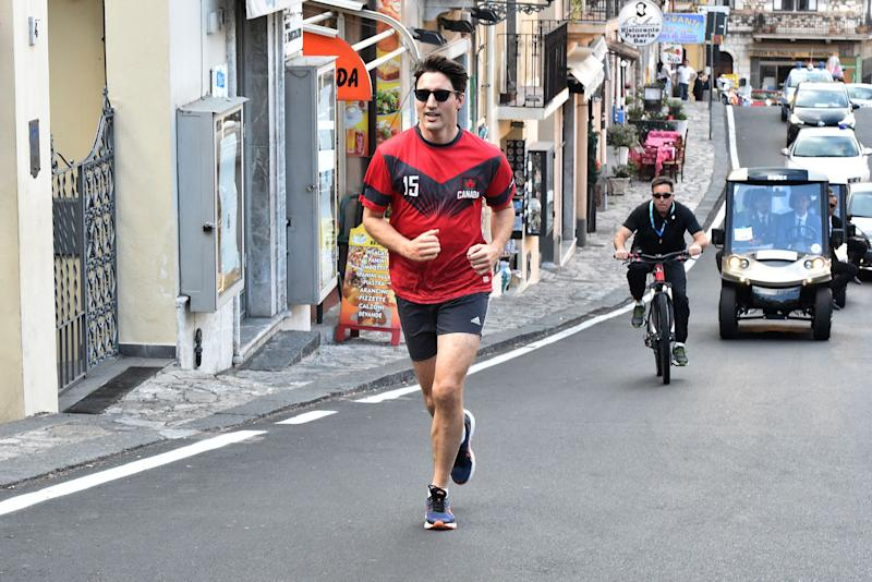 Canadian Prime Minister Justin Trudeau jogs in Taormina after a G7 Summit of Heads of State and of Government, on May 27, 2017 in Sicily. / AFP PHOTO / GIOVANNI ISOLINO (Photo credit should read GIOVANNI ISOLINO/AFP/Getty Images)