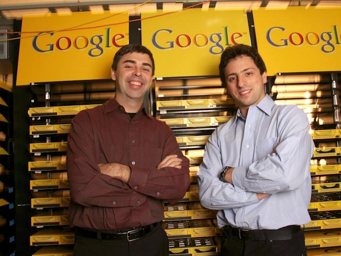Larry Page (L), Co-Founder and President, Products, and Sergey Brin, Co-Founder and President, Technology, at Google's campus headquarters in Mountain View, Calif. Google, the popular Internet search engine company, filed with the Securities and Exchange Commission on April 29, 2004 to raise as much as $2.72 billion in its long-awaited stock market debut. They founded the company in 1998. (Photo by Kim Kulish/Corbis via Getty Images)