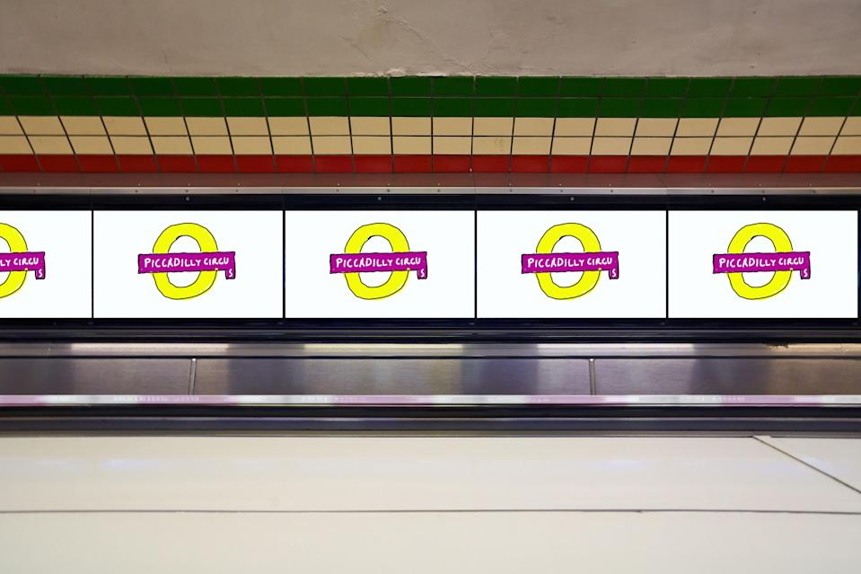 The Piccadilly Circus Tube roundel, reimagined by David HockneyGLA