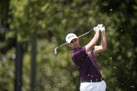 Patrick Cantlay hits from the second tee during the first round of the Tour Championship golf tournament Thursday, Sept. 2, 2021, at East Lake Golf Club in Atlanta. (AP Photo/Brynn Anderson)