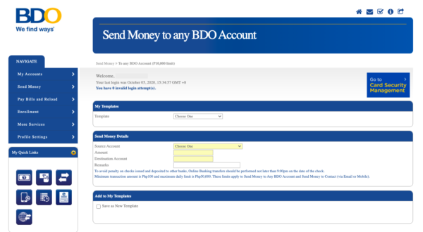 bdo online - send money