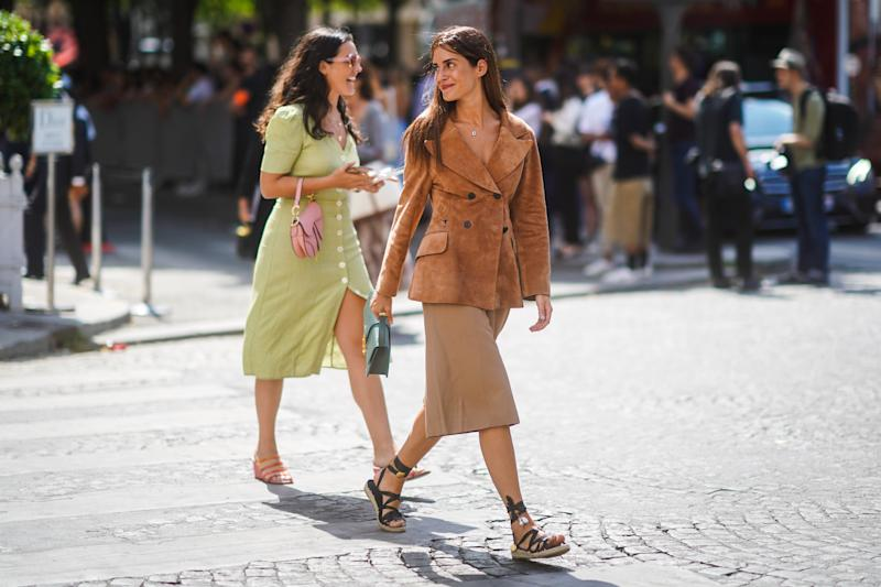 PARIS, FRANCE - JULY 01: Gala Gonzalez wears a Christian Dior tan-color suede jacket, a green Christian Dior bag, light camel bermuda shorts, black gladiator espadrilles, outside Dior, during Paris Fashion Week -Haute Couture Fall/Winter 2019/2020, on July 01, 2019 in Paris, France. (Photo by Edward Berthelot/Getty Images)