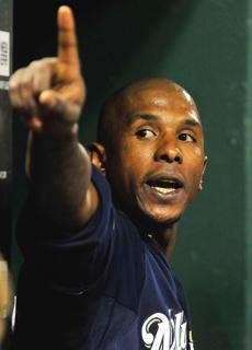 Nyjer Morgan reacts to St. Louis fans after he was ejected in the ninth inning of Wednesday's 2-0 loss to the Cardinals