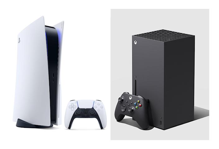 Still in high demand: Sony PlayStation 5 on the left, Microsoft's Xbox Series X on right. (Composite image made from Sony and Microsoft handouts)