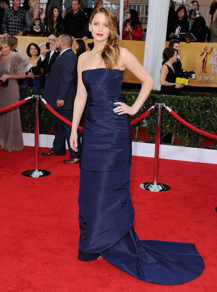 Jennifer Lawrence arrives at the 19th Annual Screen Actors Guild Awards at The Shrine Auditorium on January 27, 2013 in Los Angeles, California.  (Photo by Jon Kopaloff/FilmMagic)