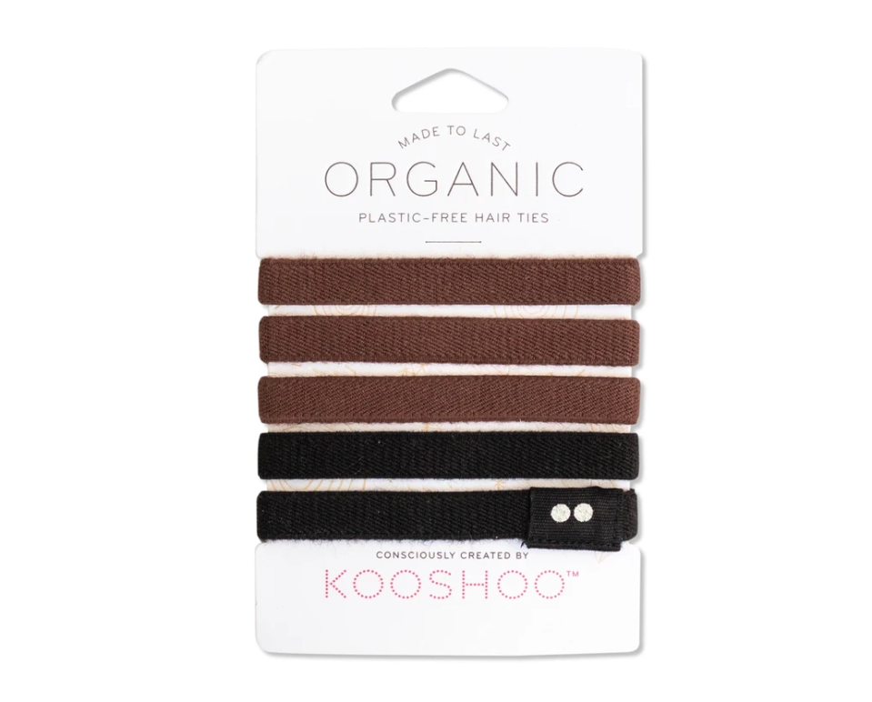 "<p><strong>Kooshoo</strong></p><p>kooshoo.com</p><p><strong>$15.00</strong></p><p><a href=""https://www.kooshoo.com/collections/organic-hair-ties/products/natural-hair-ties-for-brunettes"" rel=""nofollow noopener"" target=""_blank"" data-ylk=""slk:SHOP IT"" class=""link rapid-noclick-resp"">SHOP IT</a></p><p>Bet you hadn't thought about this one! Try these cotton hair ties that not only look better than a junky elastic, but are less damaging on the hair.</p>"