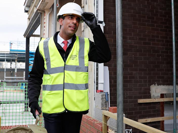 Rishi Sunak in Hartlepool. The bill for supporting business is estimated at £150bnPA