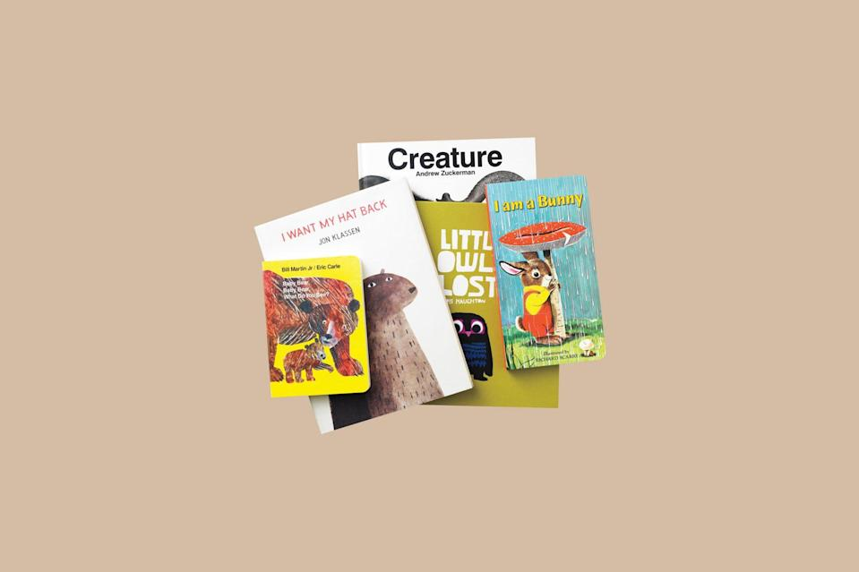 """<p>You just can't go wrong with a zoo concept: Kids adore animals, and the gift possibilities—in these books for their first library—are almost endless.</p> <p><strong><em>Shop Now: </em></strong><em>Baby Bear, Baby Bear, What Do You See?, $5.89, <a href=""""http://goto.target.com/c/249354/81938/2092?subId1=MSL25GiftsforaBabyShowerinaBoxDeliveryPackagerhaarsBabGal7845171202007I&u=https%3A%2F%2Fwww.target.com%2Fp%2Fbaby-bear-baby-bear-what-do-you-see-board-by-bill-martin-jr%2F-%2FA-11552313"""" rel=""""nofollow noopener"""" target=""""_blank"""" data-ylk=""""slk:target.com"""" class=""""link rapid-noclick-resp"""">target.com</a></em><em>; I Want My Hat Back, $9, <a href=""""http://www.anrdoezrs.net/links/7799179/type/dlg/sid/MSL25GiftsforaBabyShowerinaBoxDeliveryPackagerhaarsBabGal7845171202007I/https://www.barnesandnoble.com/w/i-want-my-hat-back-jon-klassen/1100054181"""" rel=""""nofollow noopener"""" target=""""_blank"""" data-ylk=""""slk:barnesandnoble.com"""" class=""""link rapid-noclick-resp"""">barnesandnoble.com</a></em><em>; Creature, $23, <a href=""""https://www.amazon.com/Creature-Andrew-Zuckerman/dp/0811861538/ref=as_li_ss_tl?ie=UTF8&linkCode=ll1&tag=msllifebabyshowerinaboxdeliveryachurchilljuly20-20&linkId=6bc209a75be1264c2a72b0dc1c358dcf&language=en_US"""" rel=""""nofollow noopener"""" target=""""_blank"""" data-ylk=""""slk:amazon.com"""" class=""""link rapid-noclick-resp"""">amazon.com</a></em><em>; Little Owl Lost, $8, <a href=""""http://www.anrdoezrs.net/links/7799179/type/dlg/sid/MSL25GiftsforaBabyShowerinaBoxDeliveryPackagerhaarsBabGal7845171202007I/https://www.barnesandnoble.com/w/little-owl-lost-chris-haughton/1100042327"""" rel=""""nofollow noopener"""" target=""""_blank"""" data-ylk=""""slk:barnesandnoble.com"""" class=""""link rapid-noclick-resp"""">barnesandnoble.com</a></em><em>; I Am a Bunny, $7, <a href=""""https://www.amazon.com/Am-Bunny-Golden-Sturdy-Book/dp/0375827781/ref=as_li_ss_tl?ie=UTF8&linkCode=ll1&tag=msllifebabyshowerinaboxdeliveryachurchilljuly20-20&linkId=69515c46b08e5567143b8a49624da71e&language=en_US"""" rel=""""nofollow noopener"""" target=""""_blank"""" data-"""