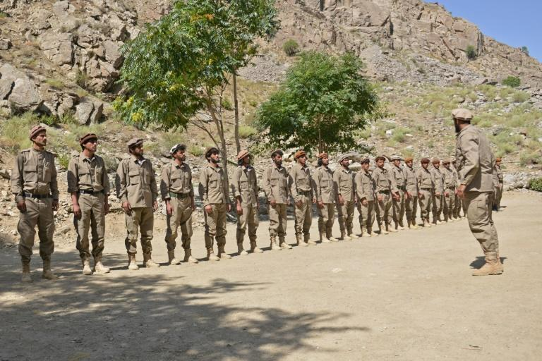 New recruits to the resistance movement take part in training in the Panjshir valley