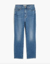 """<p><strong>Madewell</strong></p><p>amazon.com</p><p><strong>$76.80</strong></p><p><a href=""""https://www.amazon.com/dp/B08X2H8VCD?tag=syn-yahoo-20&ascsubtag=%5Bartid%7C10056.g.37331732%5Bsrc%7Cyahoo-us"""" rel=""""nofollow noopener"""" target=""""_blank"""" data-ylk=""""slk:Shop Now"""" class=""""link rapid-noclick-resp"""">Shop Now</a></p><p>Denim stat of the day: Madewell sells a pair of its perfect <a href=""""https://www.harpersbazaar.com/fashion/trends/g37271170/madewell-perfect-vintage-jeans/"""" rel=""""nofollow noopener"""" target=""""_blank"""" data-ylk=""""slk:vintage jeans"""" class=""""link rapid-noclick-resp"""">vintage jeans</a> every minute. Amazon has your workaround when Madewell proper is low on stock. This pair has all the best features of a vintage straight leg, with extra room in the hips and thighs for curve shoppers.</p>"""