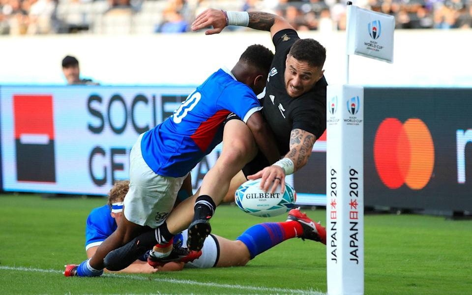 TJ Perenara scores a try for New Zealand against Namibia in the 2019 World Cup - PA