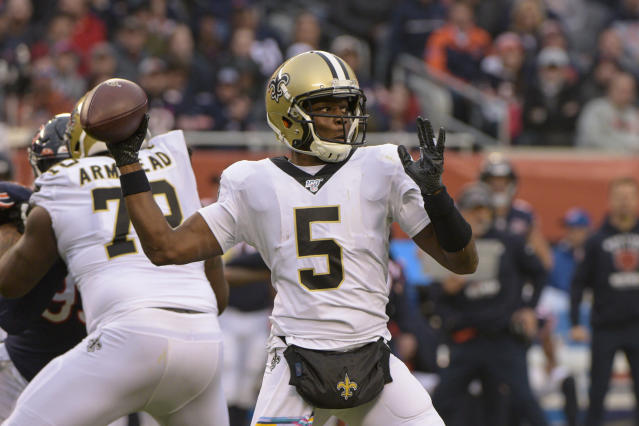 FILE - In this Sunday, Oct. 20, 2019 file photo, New Orleans Saints quarterback Teddy Bridgewater (5) throws against the Chicago Bears during the first half of an NFL football game in Chicago. The Carolina Panthers have worked out a deal with Teddy Bridgewater to replace quarterback Cam Newton. A person familiar with the deal says Bridgewater is taking a three-year, $63 million contract after winning all five of his starts for New Orleans last season.(AP Photo/Mark Black, File)