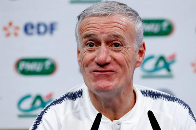 Soccer Football - France Press Conference - Clairefontaine, France - March 19, 2018 France coach Didier Deschamps during the press conference REUTERS/Gonzalo Fuentes