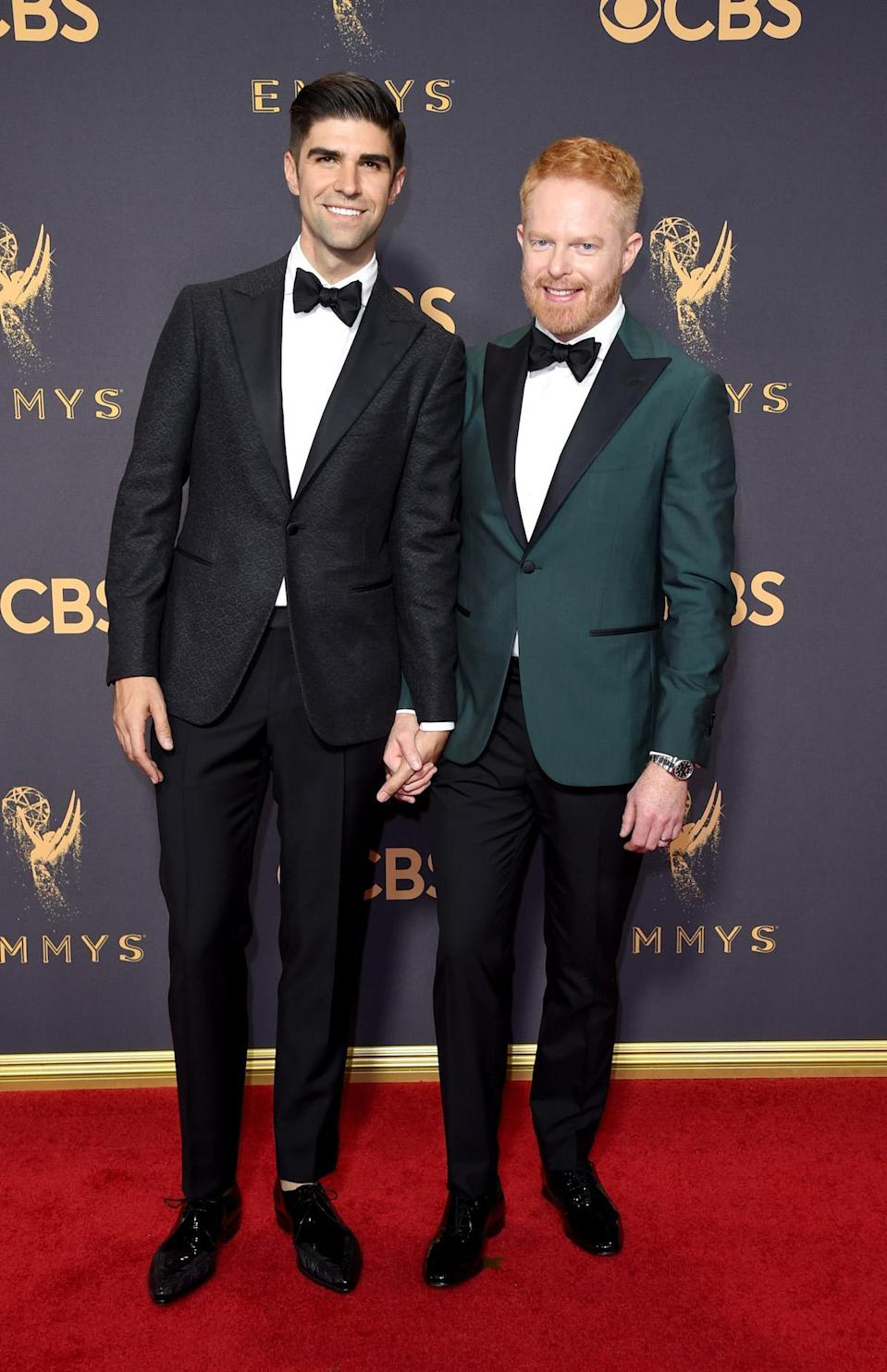 <p>Justin Mikita, left, and actor Jesse Tyler Ferguson attend the 69th Primetime Emmy Awards on Sept. 17, 2017. (Photo: Getty Images) </p>