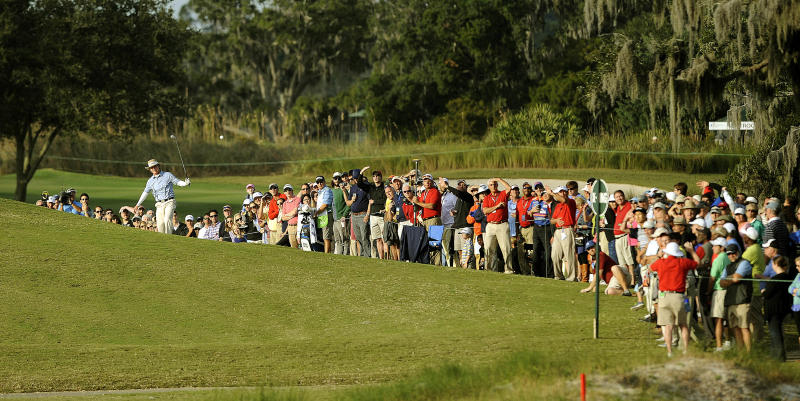 Briny Baird hits out of the bunker on the 18th fairway during the final round of the McGladrey Classic golf tournament on Sunday, Nov. 10, 2013, in St. Simons Island, Ga. (AP Photo/Stephen Morton)